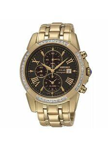 Seiko SCC314 Mens Watch Gold Bling Diamonds & Lapis Xmas New Unworn 3040 Pickup