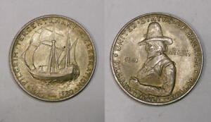 1921 PILGRIM SILVER COMMEMORATIVE HALF GEM BU TONED NICE! INV#358-47