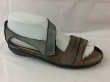 Naot Womens 6 -6.5 M EU 37 Brown Silver Leather Ankle Strap Open Toe Sandal Shoe