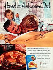Vtg 1960 Aunt Jemima Buttermilk pancake mix dad kids advertisement print ad art