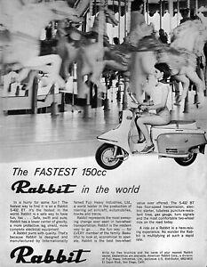 "1965 Fuji Rabbit S-402 BT Scooter ""The Fastest 150cc"" Original Ad"