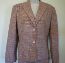 New Liz Claiborne womens large 12 petite pink brown tweed lined skirt suit