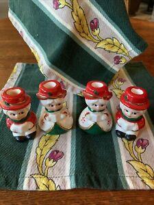 Vintage Japan Victorian Choir Candle Holders Figurine Boys Girls Set 4