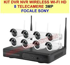 KIT AHD DVR NVR WIRELESS WIFI 8 CANALI 3MP TELECAMERE HD IR REMOTO ANDROID