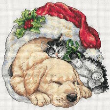 Dimensions Christmas Morning Pets Gold Petite Counted Cross Stitch Kit