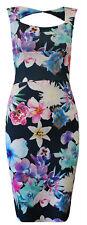 New Womens Ladies Celeb Floral Rose Print Slit Midi Bodycon Dress SIZE 8-14