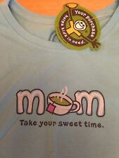 New life Is Good MOM Take Your Sweet Time T Shirt Small Summer Turquoise