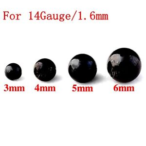 Threaded Black Balls 10 Spare Surgical Steel Body Piercing Parts Mix Sizes 14g