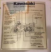 KAWASAKI ZXR750 ZXR750J 1992 DAILY SAFETY CHECKS CAUTION WARNING DECAL