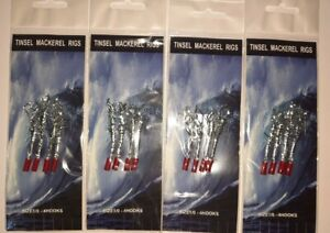Mackerel Tinsel feathers sea fishing rigs 4 Packs Lures, 4 hooks each size 1/0