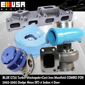 Blue GT35 Turbo+Wastegate+Heat Shield+Manifold for 03-05 Dodge Neon SRT-4 Sedan