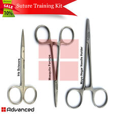Surgical Suture Training Kit Hemostat Mosquito Forceps Mayo Hegar Needle Holder