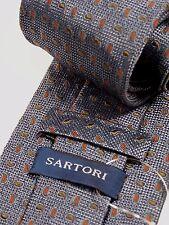 SARTORI men neck tie all silk in slate blue
