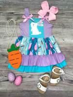 Girls, Toddler Spring Summer Bunny Lavender Twirl Easter Dress 2T 3T 4T 5 6 7 8