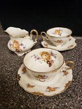 VINTAGE VOLKSTEDT Elfenbein Porcelain  Teacup & Saucer CREAMER ROSES # 2209