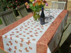 Tablecloth Provence 150x240 CM Oval Terracotta White from France Non-Iron