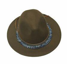 f810395857436 Women Ladies Fedora Felt Wool Wide Brim Cloche Floppy Leather Lace Detail  Hats