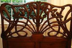 "Art Nouveau Cheri 4' 6"" Double Mahogany Wax Freestanding Headboard Louis"