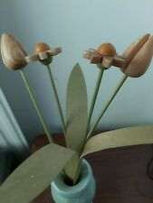 4 Vintage Artificial Wooden  decorative  Flowers. 2 tulips,2 daisies, 3 leaves.