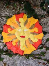 Handcrafted round wall sculpture yellow orange Aztec Sun home/garden/yard/patio