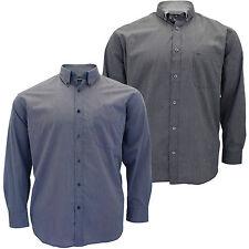 Mens Big Size Cotton Valley Pinstripe Long Sleeve Formal Collared Shirt 3XL 5XL