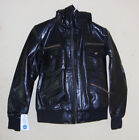 Women leather Black Biker Slim Fit Hooded Motorcycle Leather Jacket Size XL