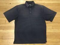 Footjoy Gray Striped Golf Polo Shirt Mens Size Large