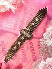 """XR242 Bronze Crystal Beaded Applique Sewing Patch Motif Crafts 4.75"""""""