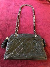 Vintage Davids Palm Beach Black Quilted Gold Chain Shoulder Bag Purse w/ Tassel