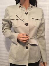 LKNW Authentic MAX MARA Beige Stretch Linen/Cotton Militarily Jacket sz 6