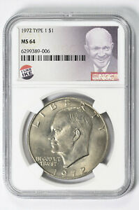 1972 Type 2 $1 Eisenhower Dollar NGC MS 64