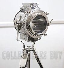 Heavy Vintage Black Tripod LED Lamp Focus Steel Searchlight Silver Light Nickel