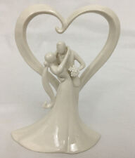 Romantic Glazed Porcelain Bride & Groom Stylish Embrace Wedding Cake Topper