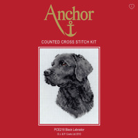 Anchor Counted Cross Stitch Kit: Black Labrador Dog Great Gift (PCE218)