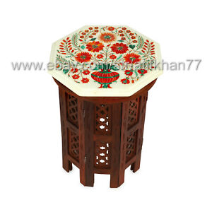 Carnelian Inlay Side Table White Marble Small Coffee Table Living Room Decor