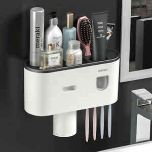 Automatic Toothpaste Dispenser + 4 Toothbrush Holder Stand Wall Mounted Bathroom