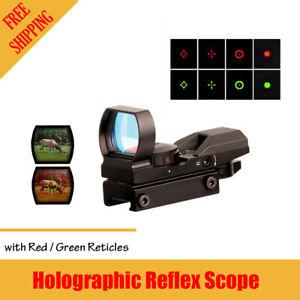 Rifle Red Green Dot Holographic Reflex Gun Scope Laser Sight W/ 20mm Rail Mount