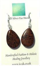 Corte de mano Obsidiana Caoba pendientes de plano/Ganchos de oreja de plata esterlina (más)