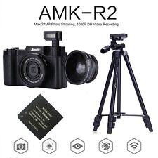 AMKOV 24mp HD 1080p Digital Cameras 180 Rotatable Screen DSLR Wide-angle Lens