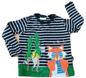 JoJo Maman Bebe 6-12 months baby applique top t shirt fox badger hide and seek