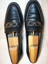 Salvatore Ferragamo sz 7B Silver Gancini Black Leather Dress Loafers Shoes