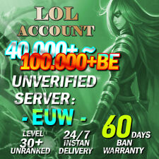 EUW League of Legends Account LoL SMURF 40,000 - 110,000 BE IP Level 30 Unranked