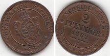 Monnaie en cuivre région Saxe (Allemagne) 2 Pfennige 1862 B