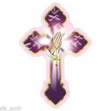 Purple Cross Prayer HEAT PRESS TRANSFER for T Shirt Sweatshirt Tote Fabric #749