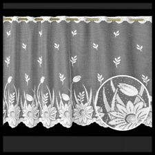"""16""""WHITE OF FLOWERS KITCHEN CAFE NET CURTAIN SOLD BY THE METRE READY MADE"""