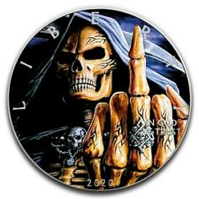GRIM REAPER MANGUITO SKULL MIDDLE FINGER 1 Oz Silver Colorized coin 1$ USA 2020