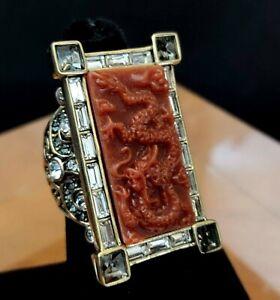 "Heidi Daus ""Chinoiserie Carving"" Rising Crystal & Red Resin Ring SZ 6 NIB"