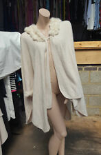 Magnificent Cream Beige Poncho Cover-Up Coat Real Rabbit Fur Detail 10 12 14 +
