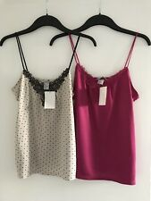 2x BNWT Ladies H&M Nude & Black/Fuchsia Pink Jersey Strappy Vest Tops-Size Small