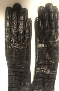 NWOT Dark Brown leather and Eel gloves by Neiman Marcus silk lined sz 6.5